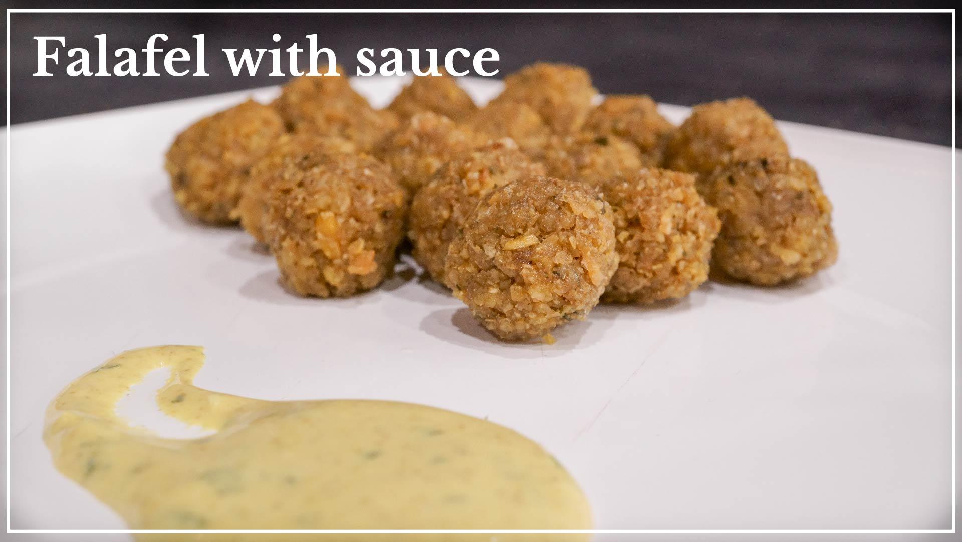 Falafel with sauce - based on chickpea paste with yogurt sauce or tahini sauce, based on sesame