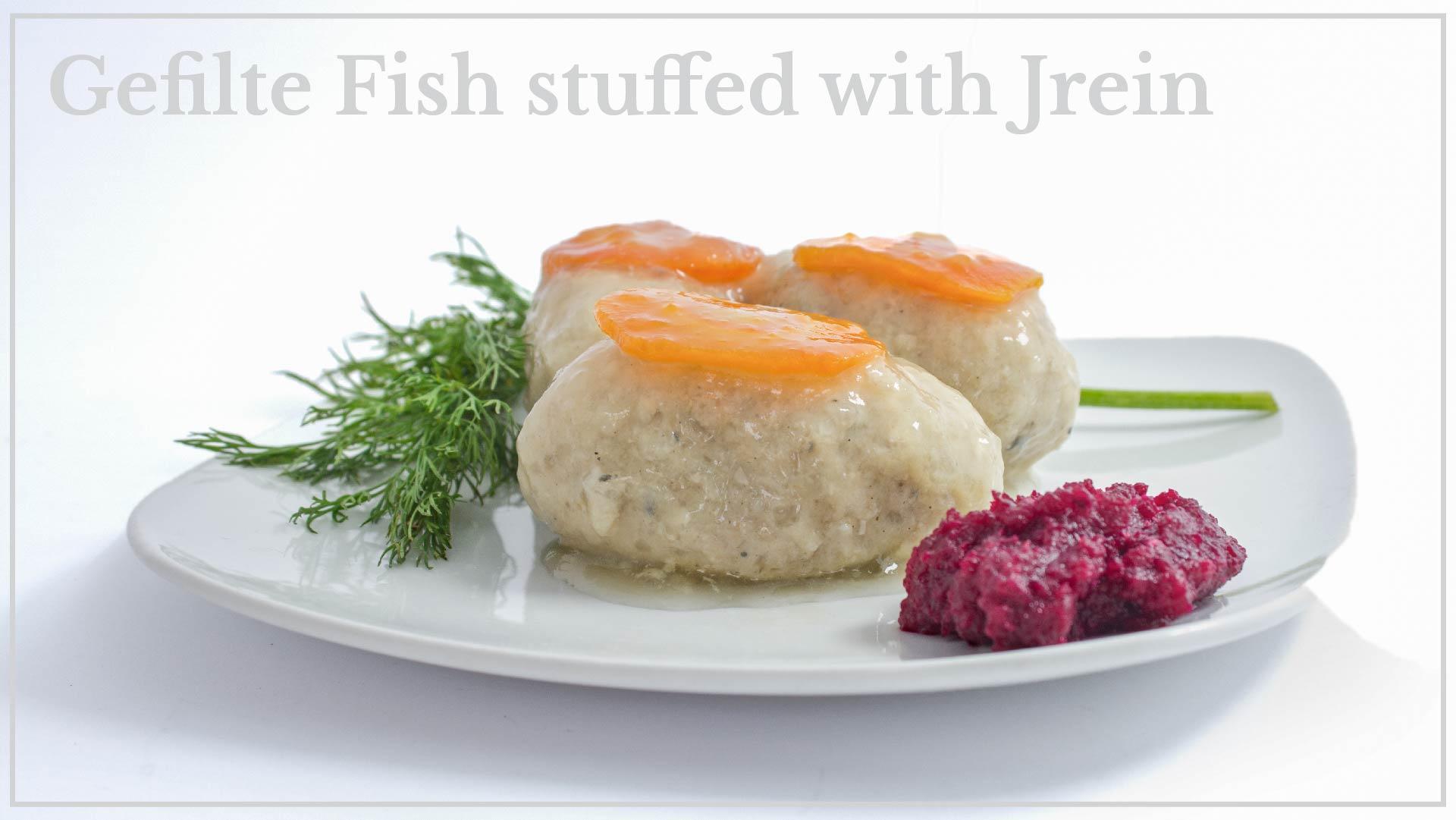 Gefilte fish with Jrein - fish stuffed with Jrein (beet-based dressing)